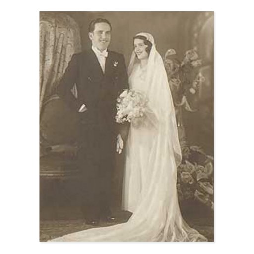 Vintage Bride & Groom Romantic Wedding Photography Post Cards
