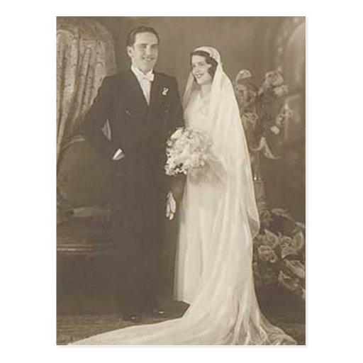 Vintage Bride & Groom Romantic Wedding Photography Post Cards