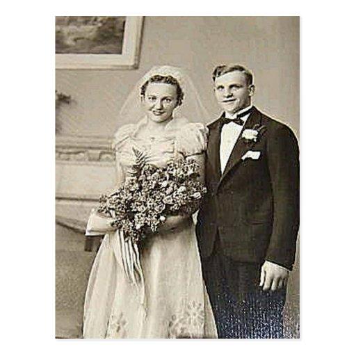 Vintage Bride & Groom Romantic Wedding Photography Postcards