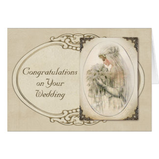 Vintage Bride Wedding Congratulations Card