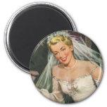 Vintage Bride with Flower Girl on Her Wedding Day Fridge Magnet