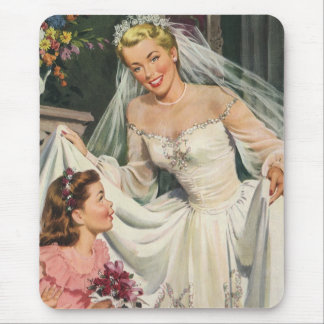 Vintage Bride with Flower Girl on Her Wedding Day Mouse Pad