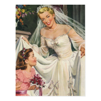 Vintage Bride with Flower Girl on Her Wedding Day Postcards