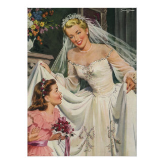 Vintage Bride with Flower Girl on Her Wedding Day Poster