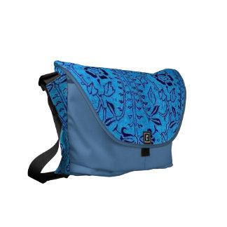 Vintage Bright Blue Floral Messenger Bag