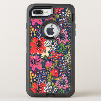 Vintage Bright Floral Pattern Fabric OtterBox Defender iPhone 7 Plus Case