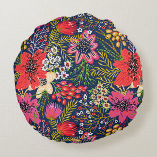 Vintage Bright Floral Pattern Fabric Round Pillow