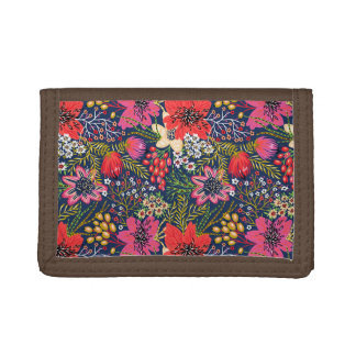Vintage Bright Floral Pattern Fabric Tri-fold Wallets