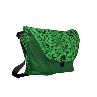 Vintage Bright Green Floral Messenger Bag
