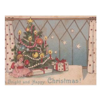 Vintage Bright Happy Christmas Postcard