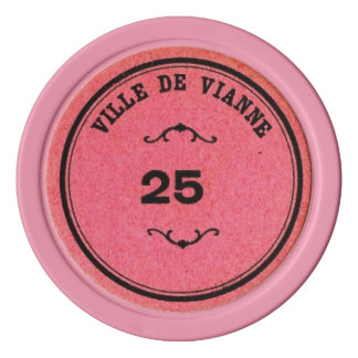 Vintage Bright Pink Color 25 Poker Value Set Of Poker Chips