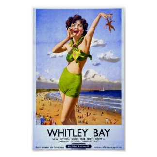 Vintage British Poster Beach Holiday British Rail