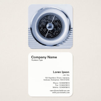 Vintage British Radio Dial - Cool Black and White Square Business Card