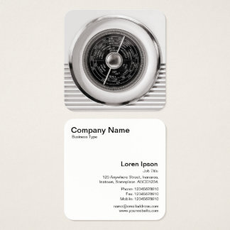Vintage British Radio Dial - Warm Black and White Square Business Card