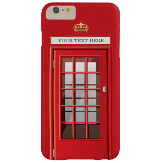 Vintage British Red Telephone Box Custom Name Barely There iPhone 6 Plus Case
