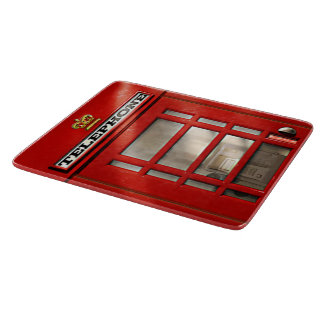 Vintage British Red Telephone Box Cutting Board