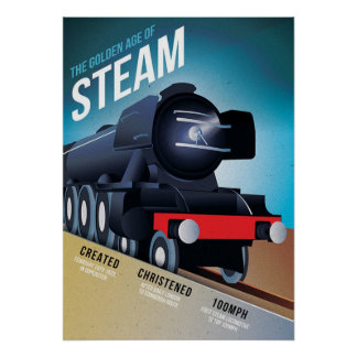 Vintage British Steam Locomotive Poster
