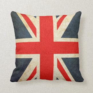 Vintage British Union Jack Flag Throw Pillow