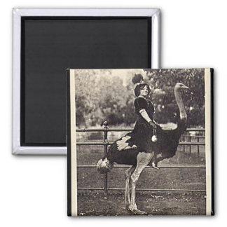 Vintage Broadway Actress Riding an Ostrich Fridge Magnets