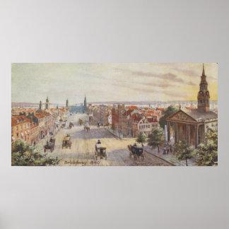 Vintage Broadway NYC Artwork (1840) Poster