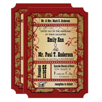 Vintage Broadway Red and Gold Movie Ticket Wedding Card