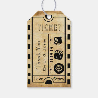 Vintage Broadway Ticket Wedding Thank You Gift Tags