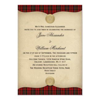 Vintage Brodie Red Tartan Plaid Wedding Invitation