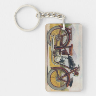 Vintage Bronze Motorcycle Print Double-Sided Rectangular Acrylic Key Ring