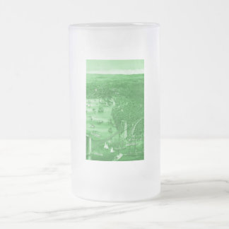 Vintage Brooklyn Map Frosted Glass Mug in Green