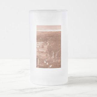 Vintage Brooklyn Map Frosted Glass Mug in Orange