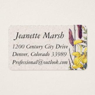 Vintage Broom Wildflower Flowers Business Cards