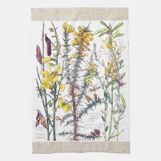 Vintage Broom Wildflowers Flowers Kitchen Towels