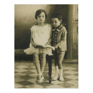 Vintage Brother and Sister Postcard