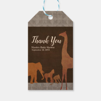Vintage Brown African Safari Jungle Zoo Favor Gift Tags