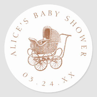 Vintage Brown Baby Carriage Baby Shower Classic Round Sticker
