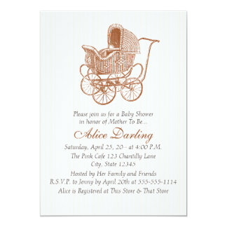 Vintage Brown Baby Carriage Baby Shower 13 Cm X 18 Cm Invitation Card