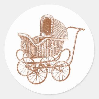 Vintage Brown Baby Carriage Baby Shower Round Sticker