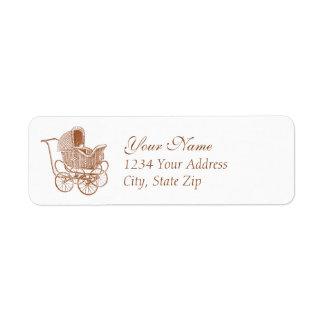 Vintage Brown Baby Carriage Return Address Label