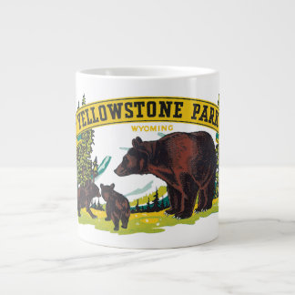 Vintage Brown Bears in Yellowstone National Park Large Coffee Mug