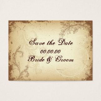 Vintage brown beige scroll leaf Save the Date Business Card