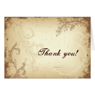 Vintage brown beige scroll leaf Thank You greeting Card