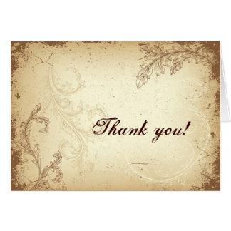 Vintage brown beige scroll leaf Thank You greeting Greeting Card