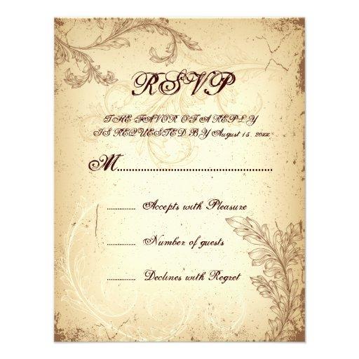 Vintage brown beige scroll leaf wedding RSVP card Personalized Invitation