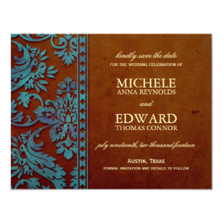 Vintage Brown & Blue Damask Lace Save the Date 4.25x5.5 Paper Invitation Card