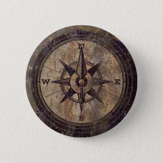 Vintage Brown Compass 6 Cm Round Badge