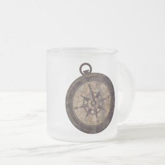 Vintage Brown Compass Frosted Glass Coffee Mug