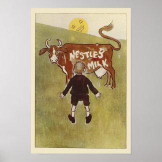 Vintage Brown Cow Nestle's Milk Poster