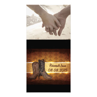 vintage brown Cowboy Boots Country wedding Photo Card Template