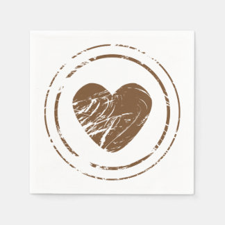 Vintage Brown Heart Grunge Wedding Party Disposable Serviettes