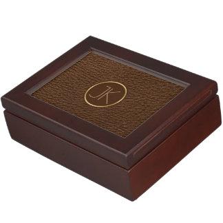 Vintage Brown Leather Monogram Gold Accent Keepsake Box